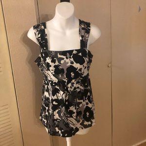 Ann Taylor Small White Black Floral Top Blouse
